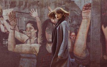девушка, взгляд, стена, модель, волосы, лицо, пальто, mara saiz