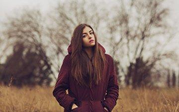 девушка, взгляд, волосы, лицо, куртка, шатенка, mara saiz
