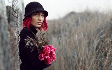 цветы, природа, девушка, взгляд, лицо, шляпка, красные волосы, mara saiz