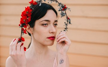 flowers, girl, look, hair, face, makeup, mara saiz