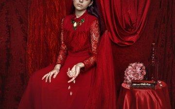 девушка, интерьер, модель, волосы, лицо, красное платье, столик, mara saiz
