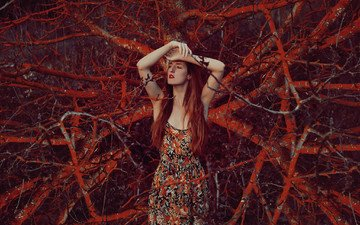 nature, girl, look, hair, face, red lipstick, redhead, closed eyes, mara saiz
