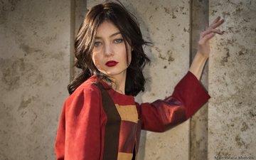 девушка, взгляд, модель, волосы, лицо, красная помада, mara saiz