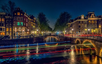 night, water, the city, netherlands, amsterdam, holland, andreas binder