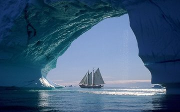 sea, ships, sailboat, ice, the wind, arch, sails, floe