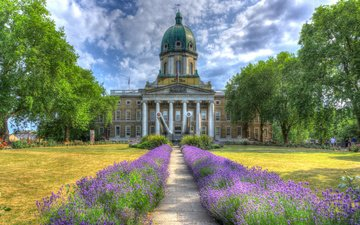 the sky, road, flowers, clouds, trees, lavender, london, england, museum, imperial war museums