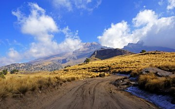 the sky, road, clouds, mountains, mexico, mexico city, iztaccihuatl