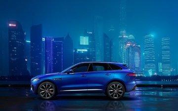 city, car, skyscrapers, cars, night, jaguar, jaguar f-pace