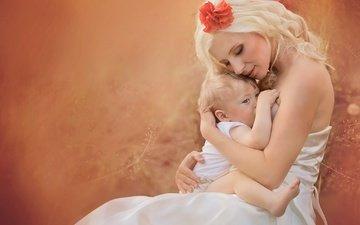 девушка, блондинка, любовь, ребенок, счастье, малыш, мать, jana eviakova