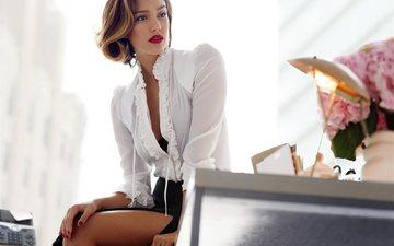 девушка, актриса, красные губы, блузка, джессика альба, джесика альба