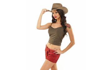 девушка, фон, взгляд, модель, грудь, ножки, актриса, шляпа, талия, джессика джейн клемент, телевидущая