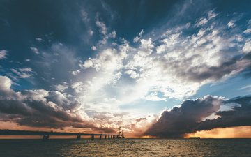 the sky, clouds, the sun, nature, shore, sunset, sea, horizon, bridge, the sun's rays