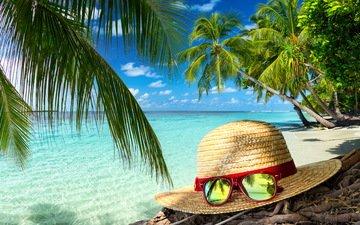 лето, очки, пальмы, океан, тропики, шляпа, отпуск