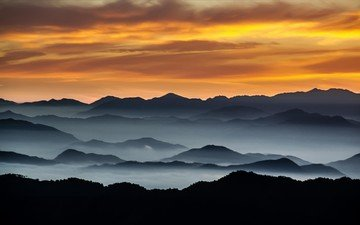 the sky, clouds, mountains, hills, nature, landscape, morning, fog, horizon, mountain range, mountain peaks