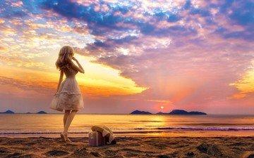 shore, sunset, girl, sea, blonde, beach, doll, white dress, suitcase