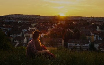 sunset, girl, the city, guy, romance, mood, stay, lovers