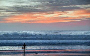 небо, закат, море, пляж, горизонт, волна, человек