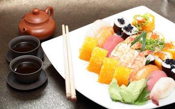 палочки, соус, суши, роллы, морепродукты, японская кухня
