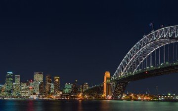 night, bridge, sydney, australia, harbour bridge