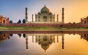 reflection, india, taj mahal, the mausoleum, agra, attractions