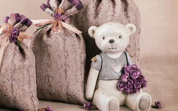 flowers, roses, petals, bear, toy, teddy, bags, still life, teddy bear