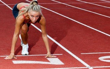 girl, blonde, track, sport, stadium, running, sneakers, long hair, athletics