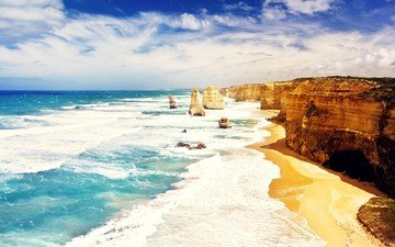 the sky, nature, shore, sea, rock, sand, wave, bay, the ocean, australia, cape, beach, twelve apostles, the twelve apostles