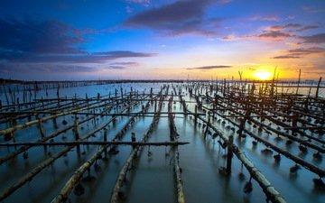 вода, горизонт, пирс, архитектура, сумерки, конструкция, сваи, jrtok