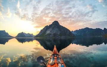 the sky, clouds, mountains, nature, reflection, boat, extreme, norway, kayak