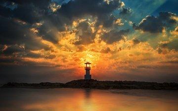 небо, облака, закат, пейзаж, море, маяк, побережье, anek suwannaphoom