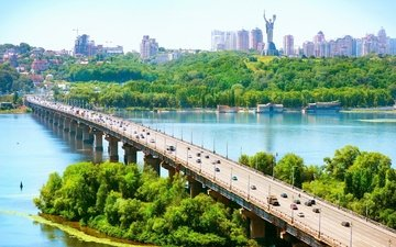river, nature, bridge, the city, ukraine, kiev, capital, dnepr