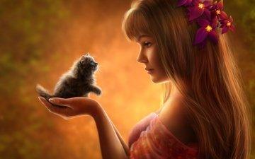 цветы, девушка, кошка, взгляд, котенок, профиль, волосы, лицо