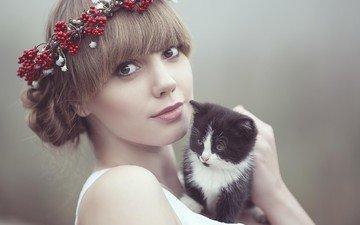 eyes, girl, look, kitty, face, wreath, brown hair, photograph, cezary