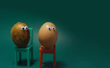 background, chair, humor, kiwi, egg, eyes
