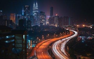 lights, skyscrapers, road, malaysia, kuala lumpur