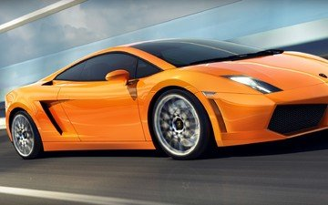 speed, blur, orange, lamborghini, gallardo