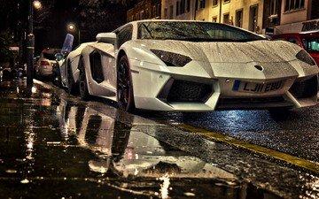 rain, lamborghini, supercar, lamborghini aventador