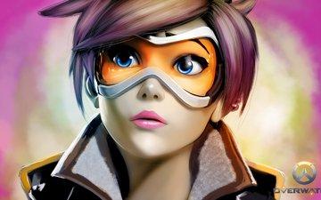 арт, девушка, очки, лицо, близзард, overwatch, lana oxton, tracer
