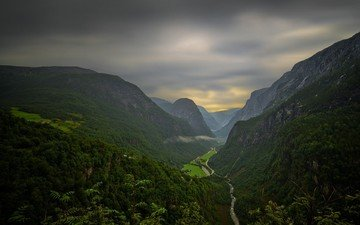 road, clouds, mountains, nature, forest, landscape, house, valley, norway