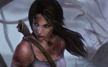art, girl, lara croft, tomb raider