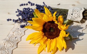 flowers, lavender, sunflower, bouquet, lace