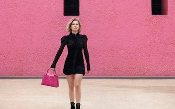 blonde, model, handbag, actress, advertising, brand, black dress, lea seydoux, patrick demarchelier, louis vuitton