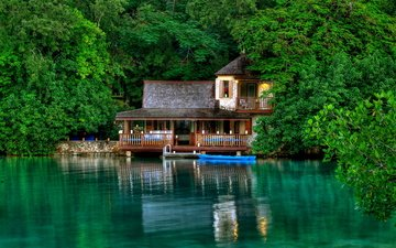trees, water, lake, greens, leaves, reflection, boat, house, stay, island, jamaica, hut