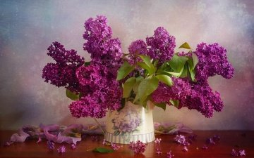 flowers, branches, table, bouquet, vase, lilac, still life, juli eisner