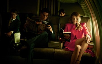girl, the plane, blonde, model, men, journal, salon, reading, lily donaldson