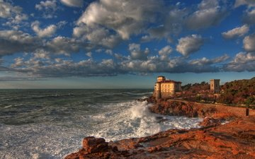 the sky, clouds, shore, sea, castle, coast, italy, boccale castle livorno