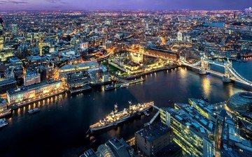 the sky, lights, the evening, river, bridge, uk, london, thames, the city, boats, skyscrapers, england, architecture, building, tower bridge, the urban landscape