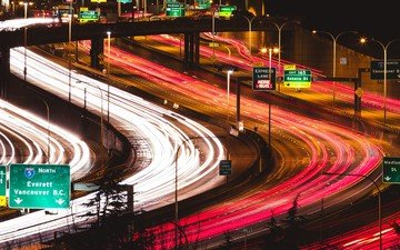 night, the city, movement, vancouver, canada, excerpt, highway