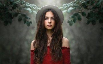 девушка, настроение, фон, ветки, взгляд, шляпка, длинные волосы