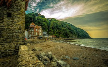 trees, nature, stones, shore, landscape, sea, rock, sand, coast, home, england, the building, lynmouth